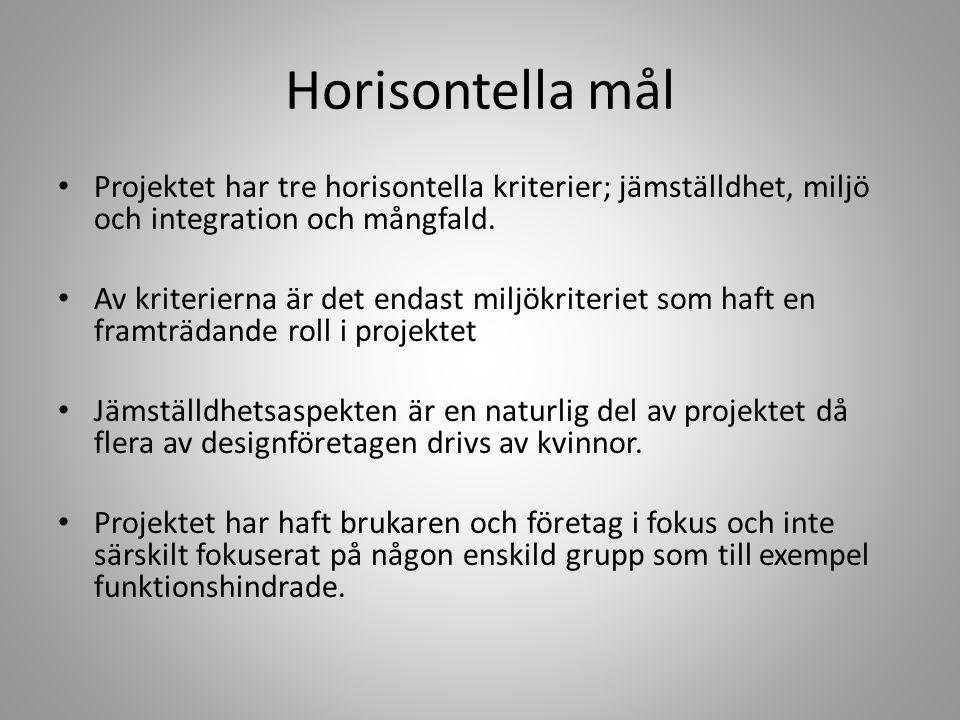 Horisontella mål • Projektet har tre horisontella kriterier; jämställdhet, miljö och integration och mångfald. • Av kriterierna är det endast miljökri