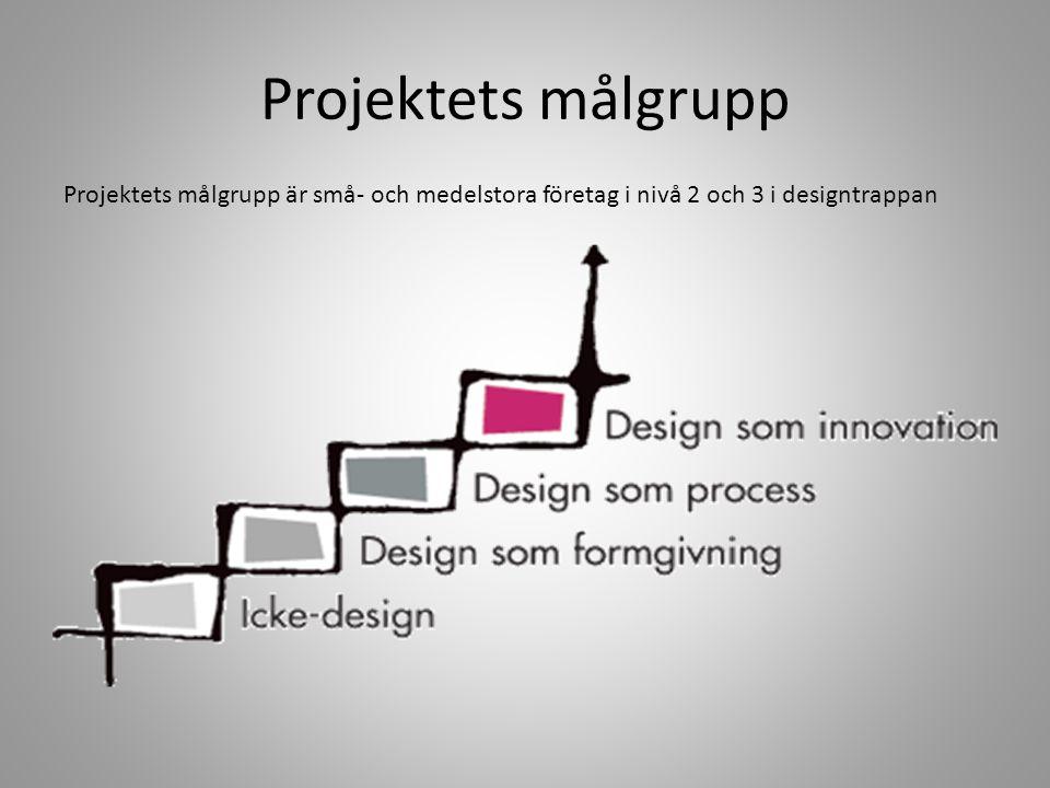 Projektets målgrupp Projektets målgrupp är små- och medelstora företag i nivå 2 och 3 i designtrappan