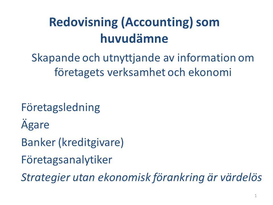 Redovisning (Accounting) som huvudämne Skapande och utnyttjande av information om företagets verksamhet och ekonomi Företagsledning Ägare Banker (kreditgivare) Företagsanalytiker Strategier utan ekonomisk förankring är värdelös 1
