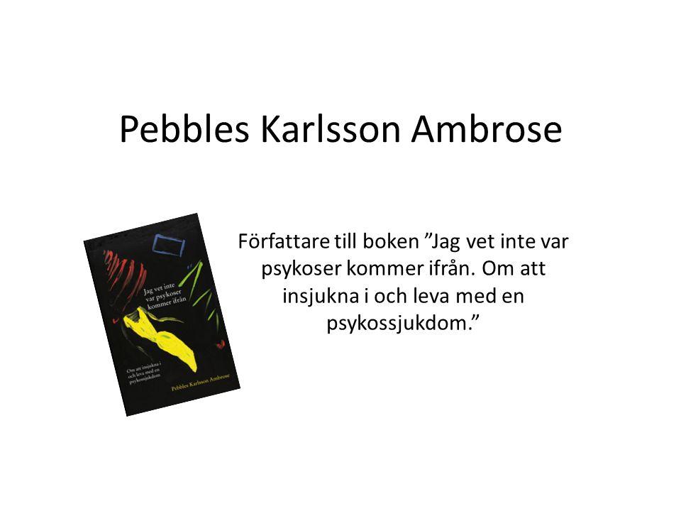 """Pebbles Karlsson Ambrose Författare till boken """"Jag vet inte var psykoser kommer ifrån. Om att insjukna i och leva med en psykossjukdom."""""""