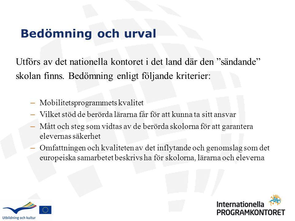 """Bedömning och urval Utförs av det nationella kontoret i det land där den """"sändande"""" skolan finns. Bedömning enligt följande kriterier: – Mobilitetspro"""