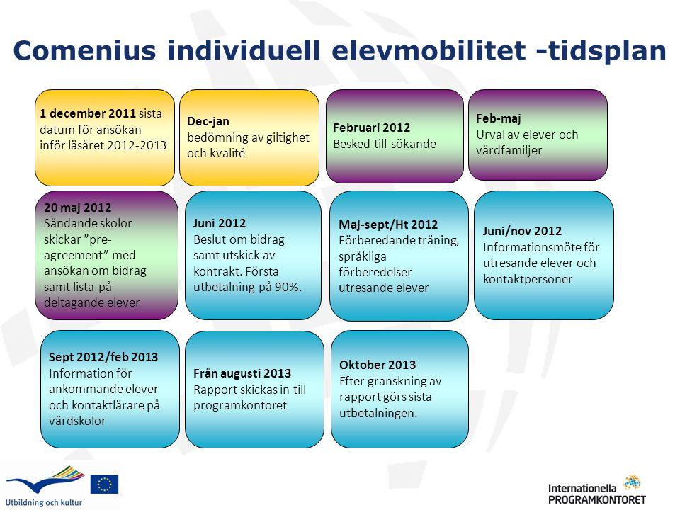 Comenius individuell elevmobilitet -tidsplan 1 december 2011 sista datum för ansökan inför läsåret 2012-2013 Dec-jan bedömning av giltighet och kvalit