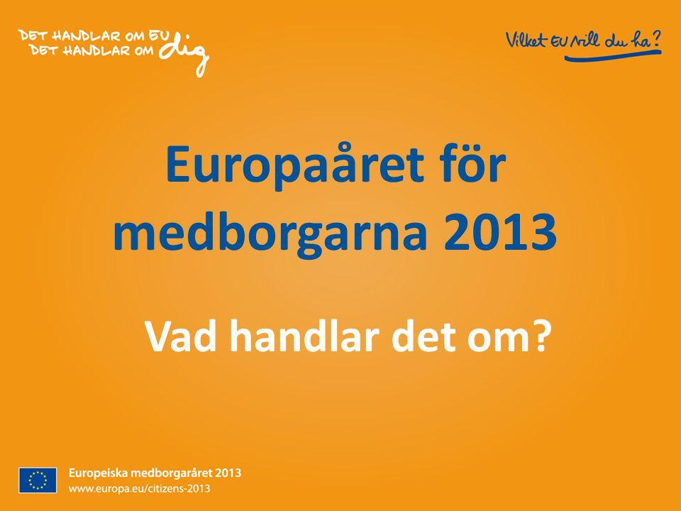 Europaåret för medborgarna 2013 Vad handlar det om