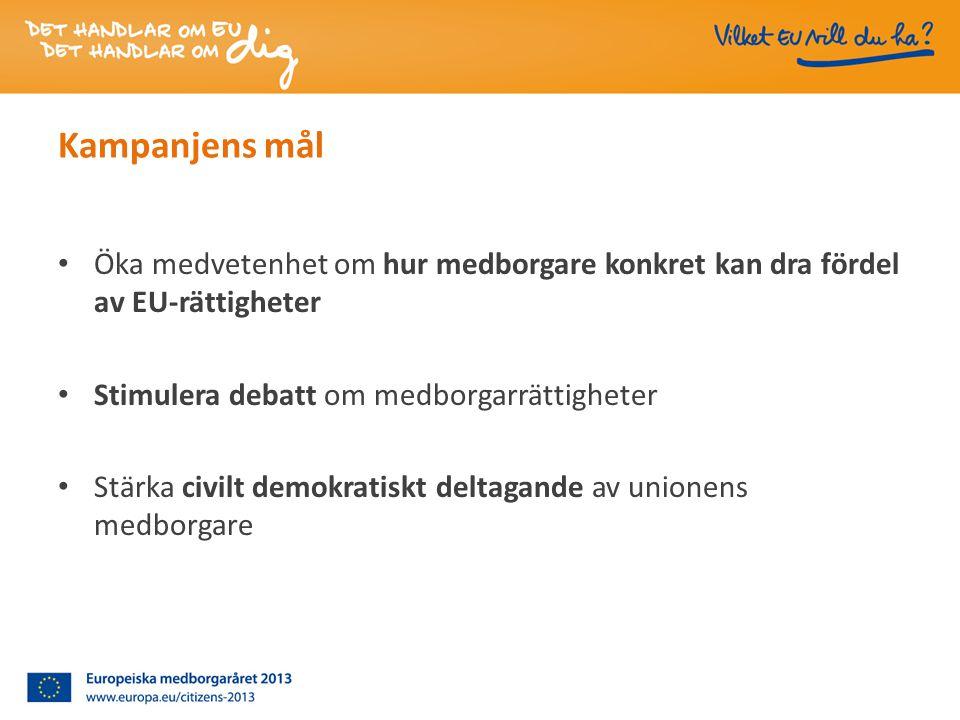 Kampanjens mål • Öka medvetenhet om hur medborgare konkret kan dra fördel av EU-rättigheter • Stimulera debatt om medborgarrättigheter • Stärka civilt demokratiskt deltagande av unionens medborgare