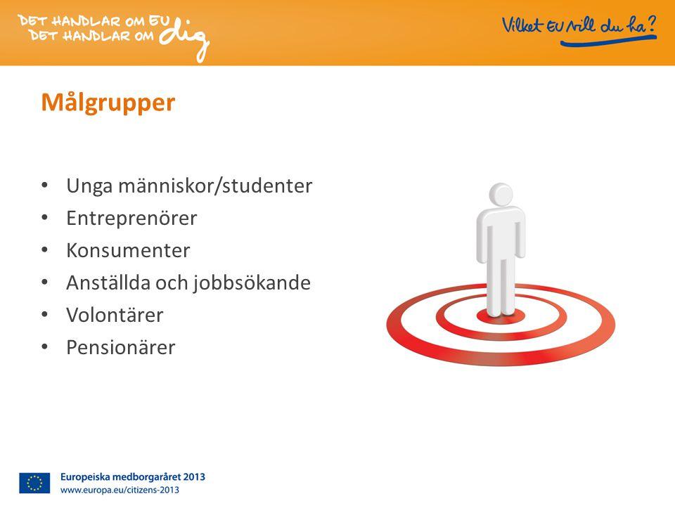 Målgrupper • Unga människor/studenter • Entreprenörer • Konsumenter • Anställda och jobbsökande • Volontärer • Pensionärer
