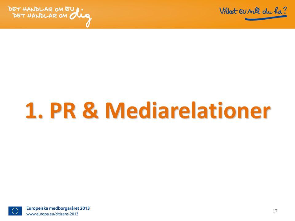 1. PR & Mediarelationer 17