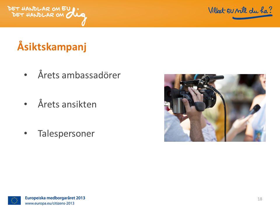 Åsiktskampanj • Årets ambassadörer • Årets ansikten • Talespersoner 18