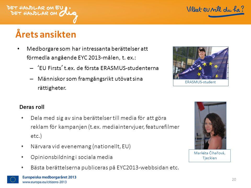Årets ansikten • Medborgare som har intressanta berättelser att förmedla angående EYC 2013-målen, t.