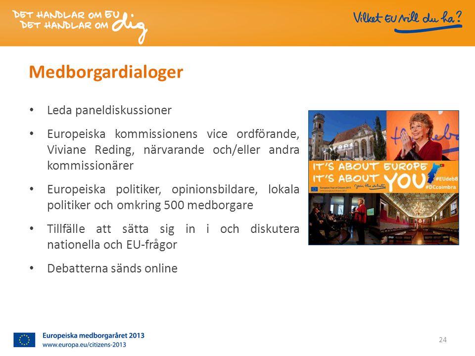 • Leda paneldiskussioner • Europeiska kommissionens vice ordförande, Viviane Reding, närvarande och/eller andra kommissionärer • Europeiska politiker, opinionsbildare, lokala politiker och omkring 500 medborgare • Tillfälle att sätta sig in i och diskutera nationella och EU-frågor • Debatterna sänds online 24 Medborgardialoger