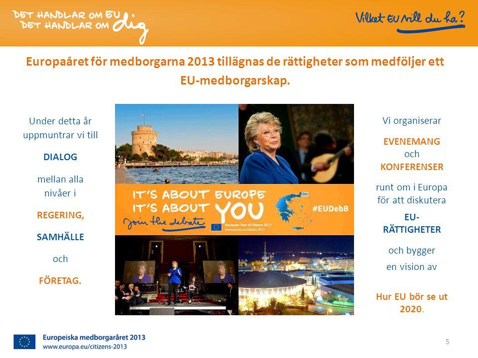 5 Europaåret för medborgarna 2013 tillägnas de rättigheter som medföljer ett EU-medborgarskap.