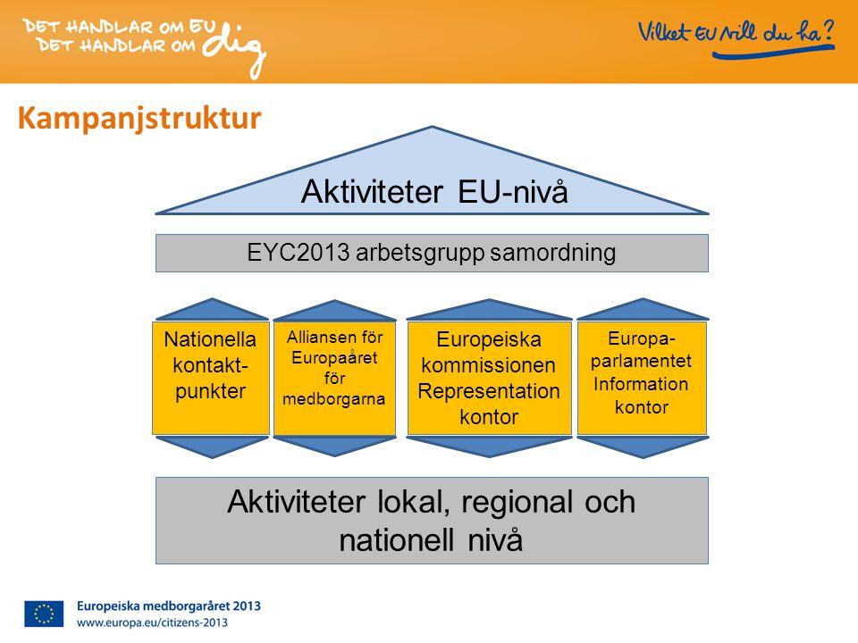 Aktiviteter EU-nivå Nationella kontakt- punkter Europa- parlamentet Information kontor Europeiska kommissionen Representation kontor Alliansen för Europaåret för medborgarna Aktiviteter lokal, regional och nationell nivå Kampanjstruktur EYC2013 arbetsgrupp samordning