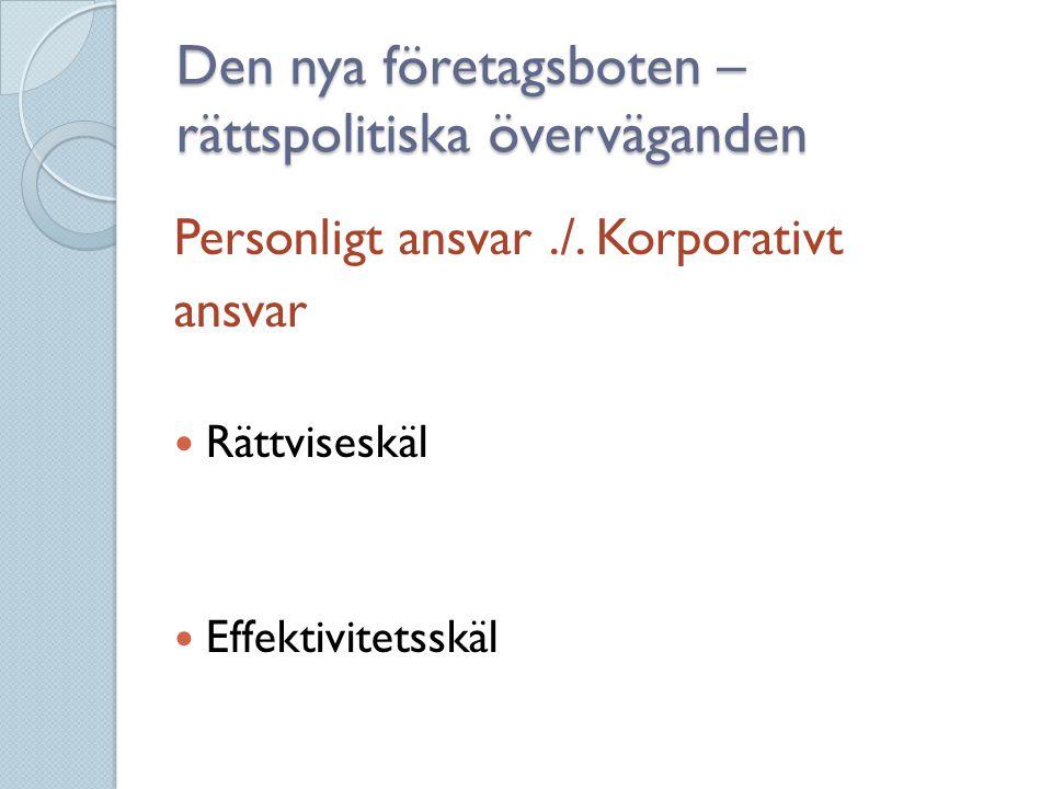 Den nya företagsboten – rättspolitiska överväganden Personligt ansvar./. Korporativt ansvar  Rättviseskäl  Effektivitetsskäl