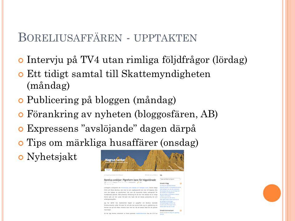 B ORELIUSAFFÄREN - UPPTAKTEN Intervju på TV4 utan rimliga följdfrågor (lördag) Ett tidigt samtal till Skattemyndigheten (måndag) Publicering på blogge