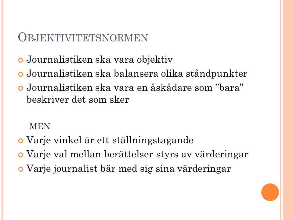 """O BJEKTIVITETSNORMEN Journalistiken ska vara objektiv Journalistiken ska balansera olika ståndpunkter Journalistiken ska vara en åskådare som """"bara"""" b"""
