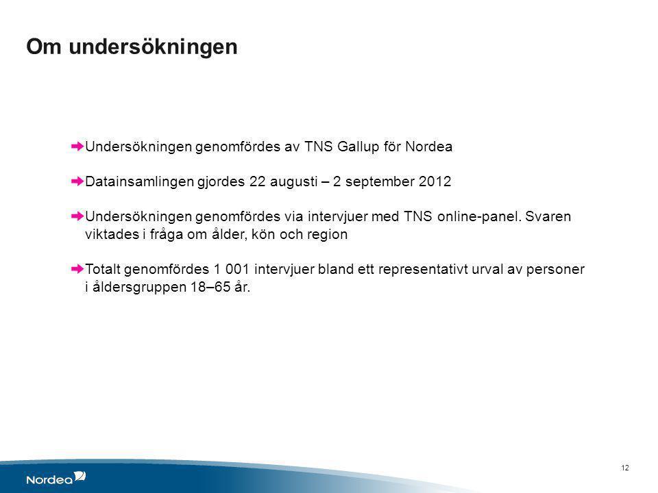 Om undersökningen 12 Undersökningen genomfördes av TNS Gallup för Nordea Datainsamlingen gjordes 22 augusti – 2 september 2012 Undersökningen genomfördes via intervjuer med TNS online-panel.