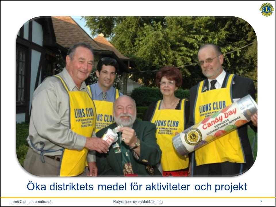 8Lions Clubs InternationalBetydelsen av nyklubbildning Öka distriktets medel för aktiviteter och projekt