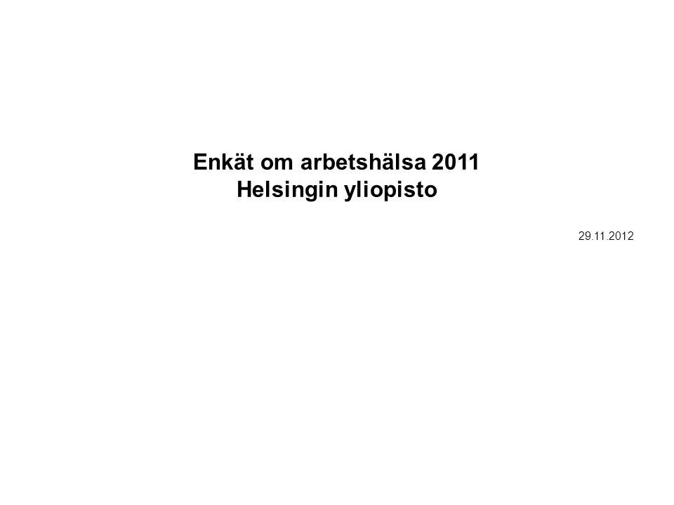 Enkät om arbetshälsa 2011 Helsingin yliopisto 29.11.2012