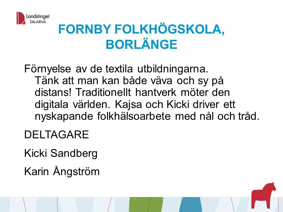 FORNBY FOLKHÖGSKOLA, BORLÄNGE Förnyelse av de textila utbildningarna. Tänk att man kan både väva och sy på distans! Traditionellt hantverk möter den d