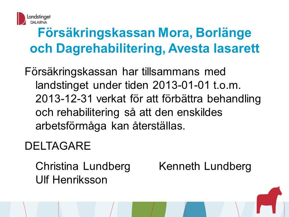 Försäkringskassan Mora, Borlänge och Dagrehabilitering, Avesta lasarett Försäkringskassan har tillsammans med landstinget under tiden 2013-01-01 t.o.m