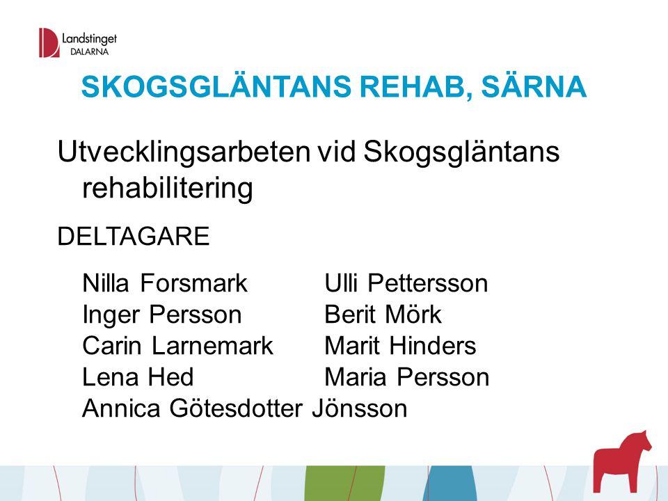 SKOGSGLÄNTANS REHAB, SÄRNA Utvecklingsarbeten vid Skogsgläntans rehabilitering DELTAGARE Nilla ForsmarkUlli Pettersson Inger PerssonBerit Mörk Carin L