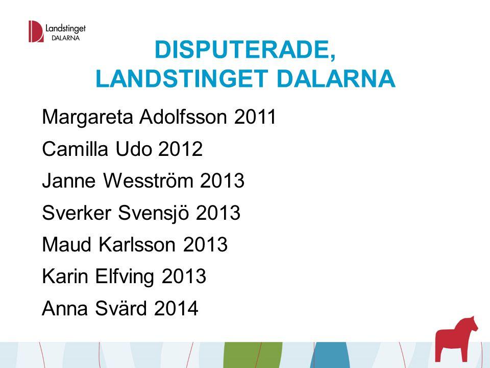 DISPUTERADE, LANDSTINGET DALARNA Margareta Adolfsson 2011 Camilla Udo 2012 Janne Wesström 2013 Sverker Svensjö 2013 Maud Karlsson 2013 Karin Elfving 2
