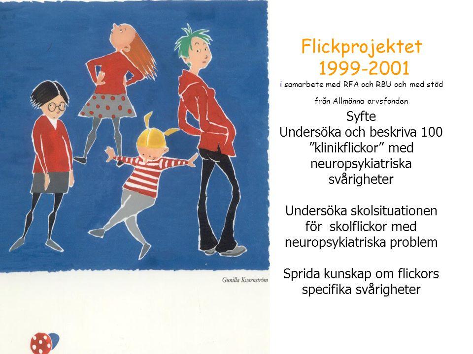 """Flickprojektet 1999-2001 i samarbete med RFA och RBU och med stöd från Allmänna arvsfonden Syfte Undersöka och beskriva 100 """"klinikflickor"""" med neurop"""