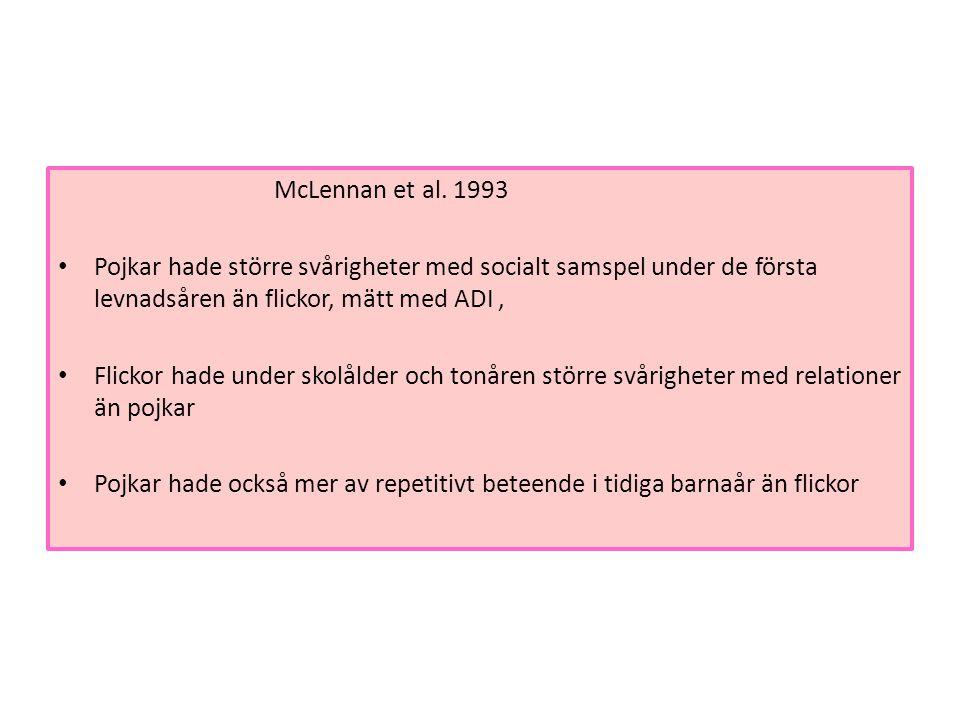 McLennan et al. 1993 • Pojkar hade större svårigheter med socialt samspel under de första levnadsåren än flickor, mätt med ADI, • Flickor hade under s