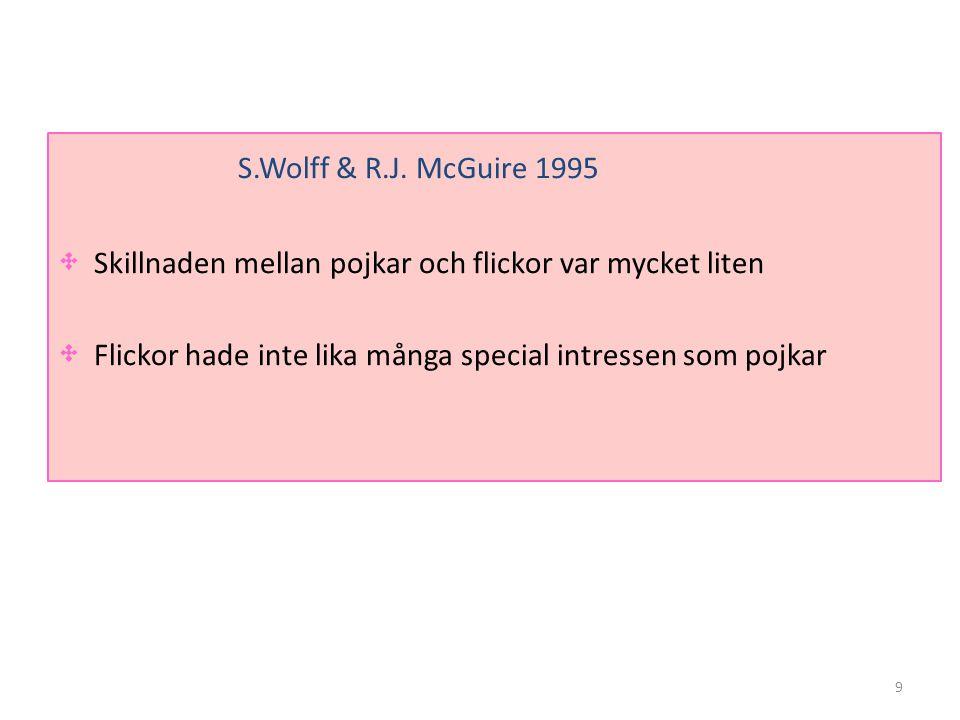 9 S.Wolff & R.J. McGuire 1995 • Skillnaden mellan pojkar och flickor var mycket liten • Flickor hade inte lika många special intressen som pojkar