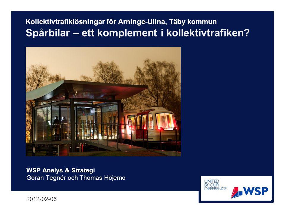 Kollektivtrafiklösningar för Arninge-Ullna, Täby kommun Spårbilar – ett komplement i kollektivtrafiken? WSP Analys & Strategi Göran Tegnér och Thomas