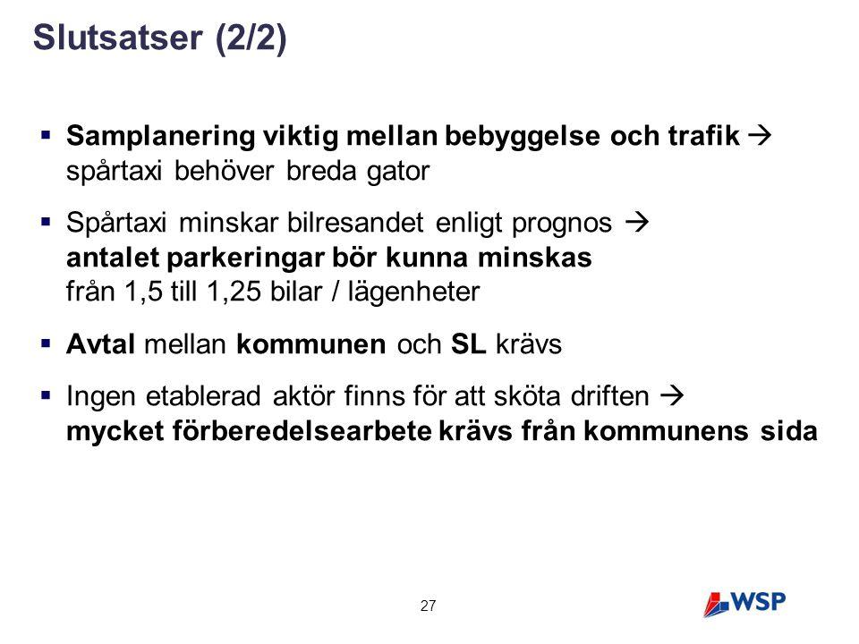27 Slutsatser (2/2)  Samplanering viktig mellan bebyggelse och trafik  spårtaxi behöver breda gator  Spårtaxi minskar bilresandet enligt prognos 