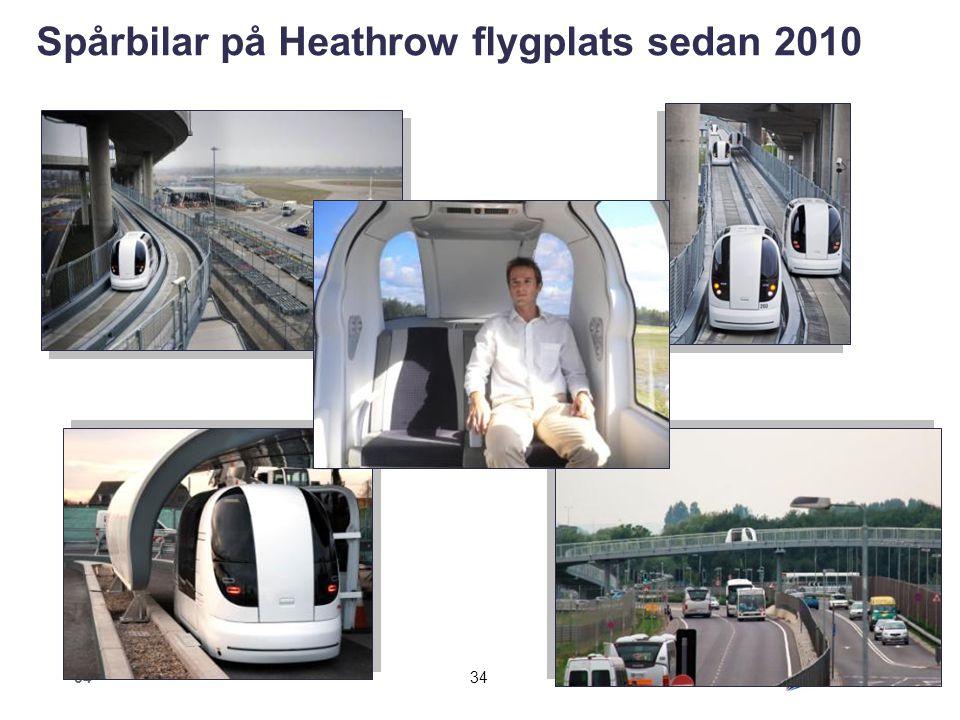 34 Spårbilar på Heathrow flygplats sedan 2010