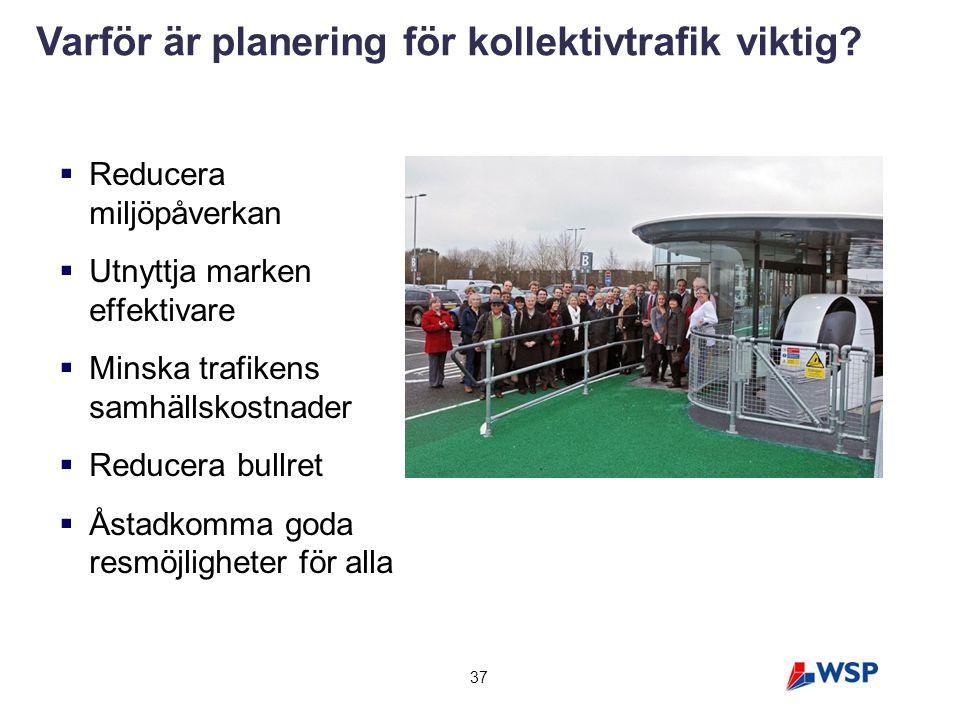  Reducera miljöpåverkan  Utnyttja marken effektivare  Minska trafikens samhällskostnader  Reducera bullret  Åstadkomma goda resmöjligheter för al