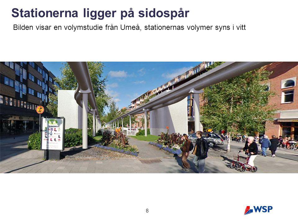 Stationerna ligger på sidospår 8 Bilden visar en volymstudie från Umeå, stationernas volymer syns i vitt