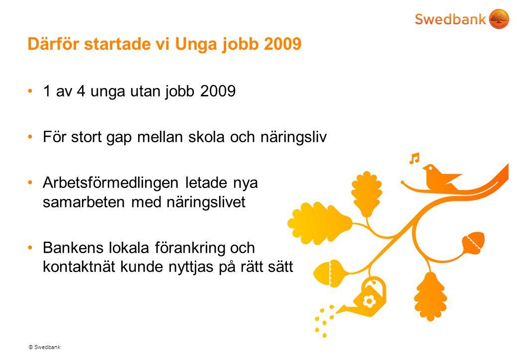 © Swedbank Därför startade vi Unga jobb 2009 •1 av 4 unga utan jobb 2009 •För stort gap mellan skola och näringsliv •Arbetsförmedlingen letade nya samarbeten med näringslivet •Bankens lokala förankring och kontaktnät kunde nyttjas på rätt sätt