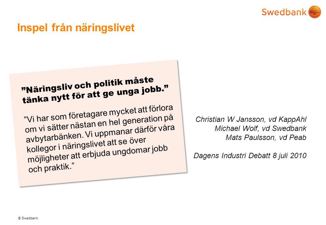 © Swedbank Inspel från näringslivet Christian W Jansson, vd KappAhl Michael Wolf, vd Swedbank Mats Paulsson, vd Peab Dagens Industri Debatt 8 juli 201