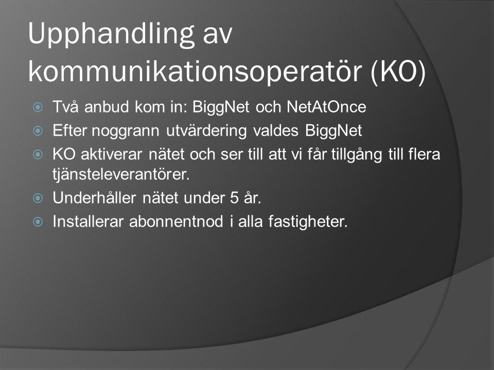 Upphandling av kommunikationsoperatör (KO)  Två anbud kom in: BiggNet och NetAtOnce  Efter noggrann utvärdering valdes BiggNet  KO aktiverar nätet