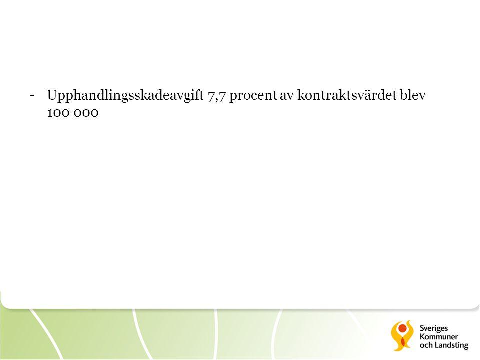 - Upphandlingsskadeavgift 7,7 procent av kontraktsvärdet blev 100 000