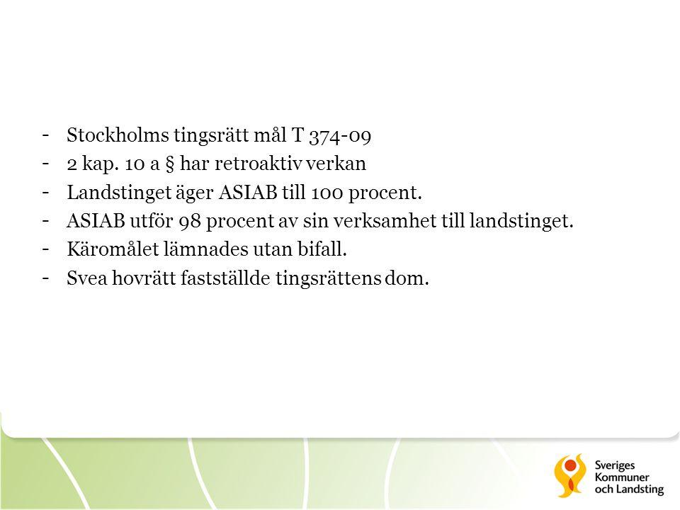 - Stockholms tingsrätt mål T 374-09 - 2 kap. 10 a § har retroaktiv verkan - Landstinget äger ASIAB till 100 procent. - ASIAB utför 98 procent av sin v