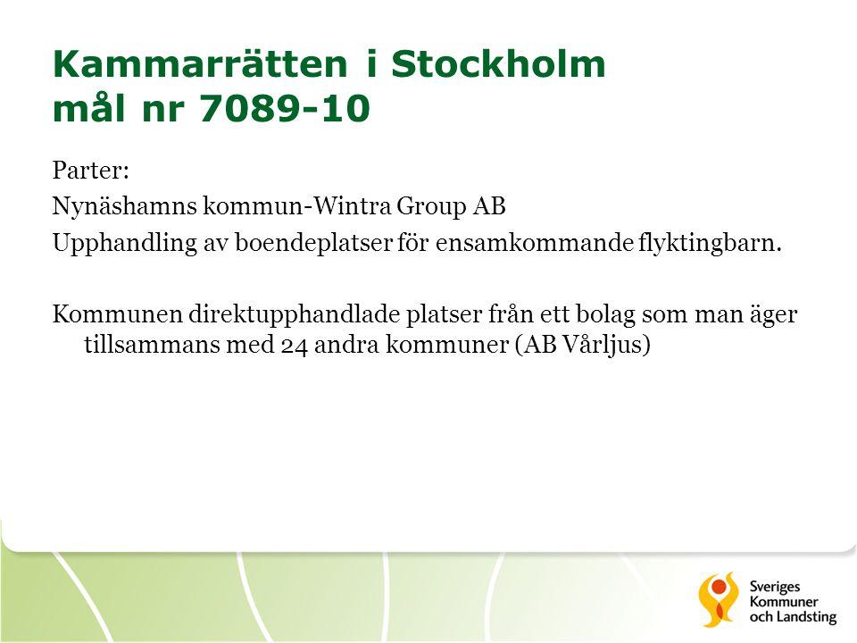Kammarrätten i Stockholm mål nr 7089-10 Parter: Nynäshamns kommun-Wintra Group AB Upphandling av boendeplatser för ensamkommande flyktingbarn. Kommune