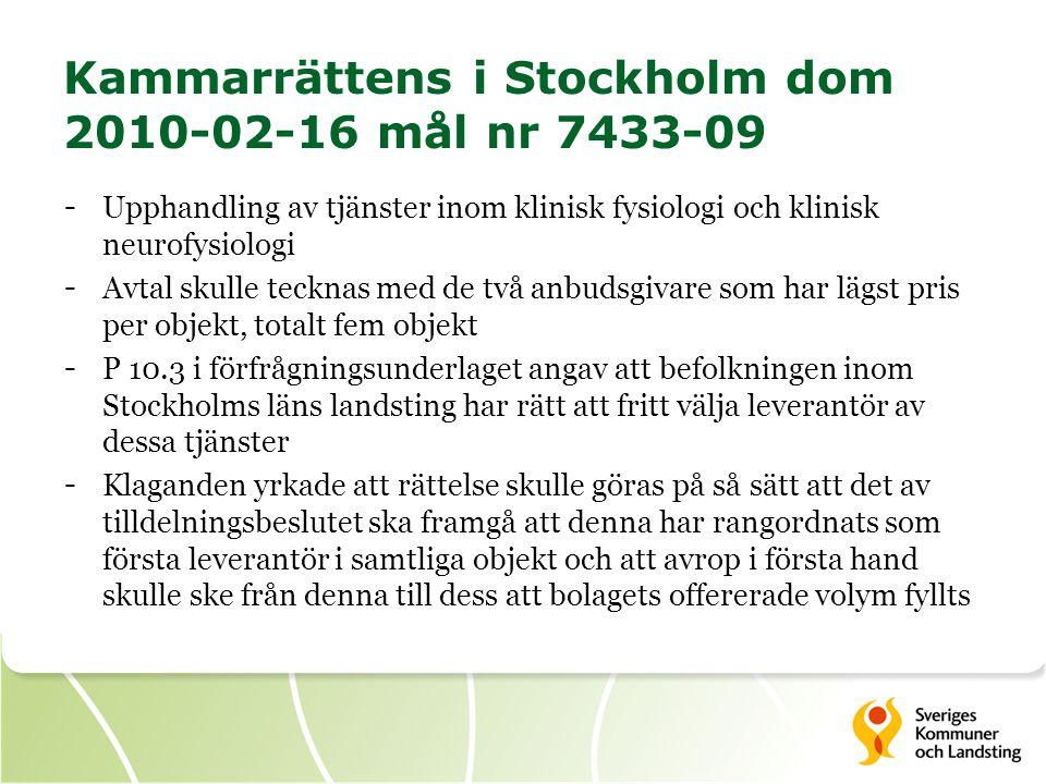 Kammarrättens i Stockholm dom 2010-02-16 mål nr 7433-09 - Upphandling av tjänster inom klinisk fysiologi och klinisk neurofysiologi - Avtal skulle tec