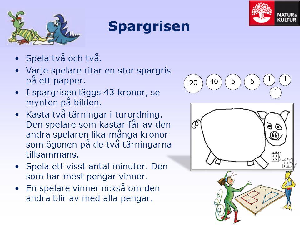 Spargrisen •Spela två och två. •Varje spelare ritar en stor spargris på ett papper. •I spargrisen läggs 43 kronor, se mynten på bilden. •Kasta två tär