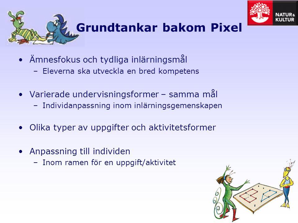 Anpassning till individen i Pixel Trefaldigt: 1.Anpassa genom olika former av presentation 2.Anpassning genom tal 3.Anpassa genom olika uppgifter, men samma kompetens, både förenkling och utmaning.