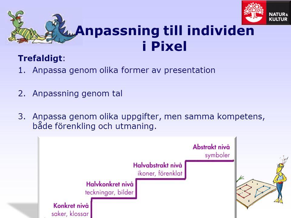 Anpassning till individen i Pixel Trefaldigt: 1.Anpassa genom olika former av presentation 2.Anpassning genom tal 3.Anpassa genom olika uppgifter, men