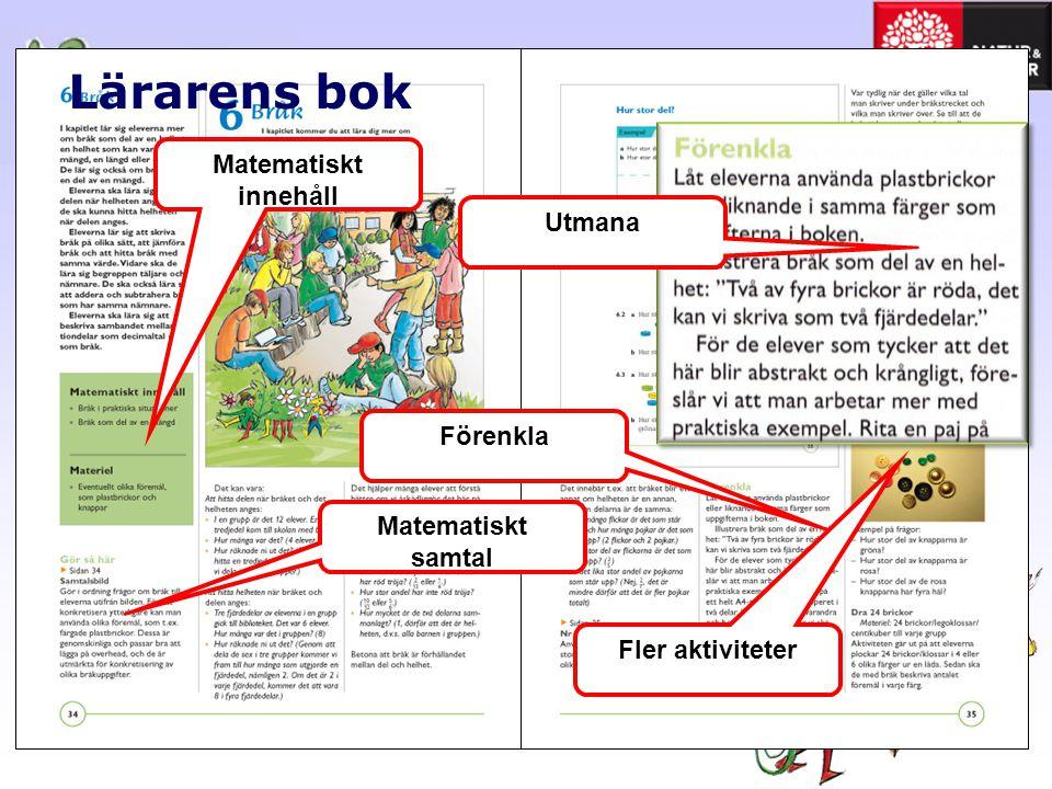 Lärarens bok Matematiskt innehåll Matematiskt samtal Förenkla Utmana Fler aktiviteter