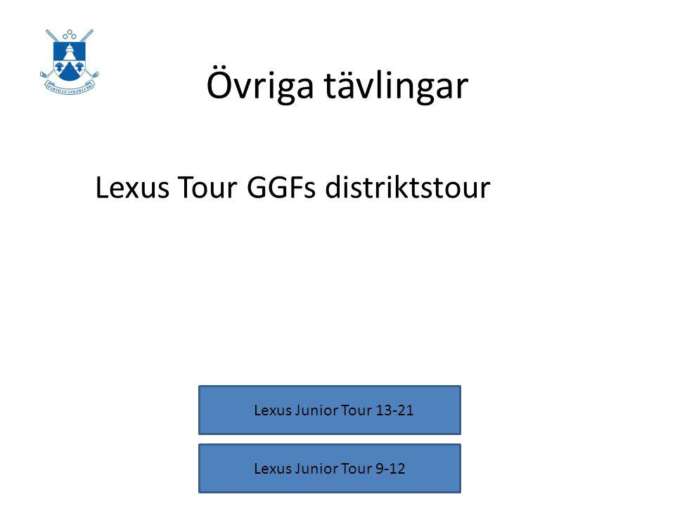 Övriga tävlingar Lexus Tour GGFs distriktstour Lexus Junior Tour 9-12 Lexus Junior Tour 13-21