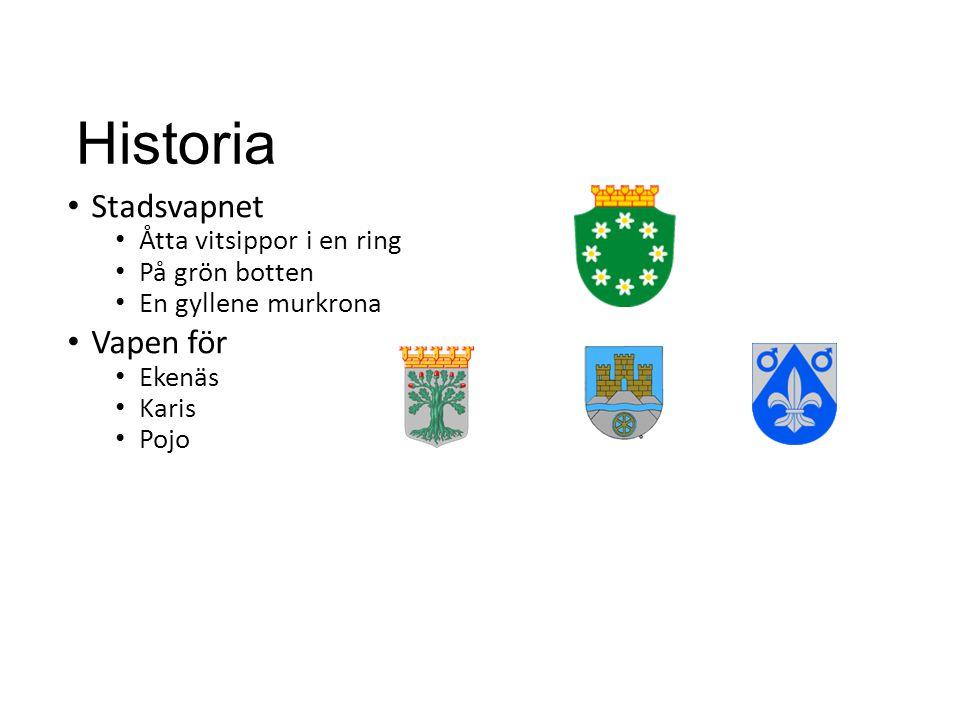 Historia • Stadsvapnet • Åtta vitsippor i en ring • På grön botten • En gyllene murkrona • Vapen för • Ekenäs • Karis • Pojo