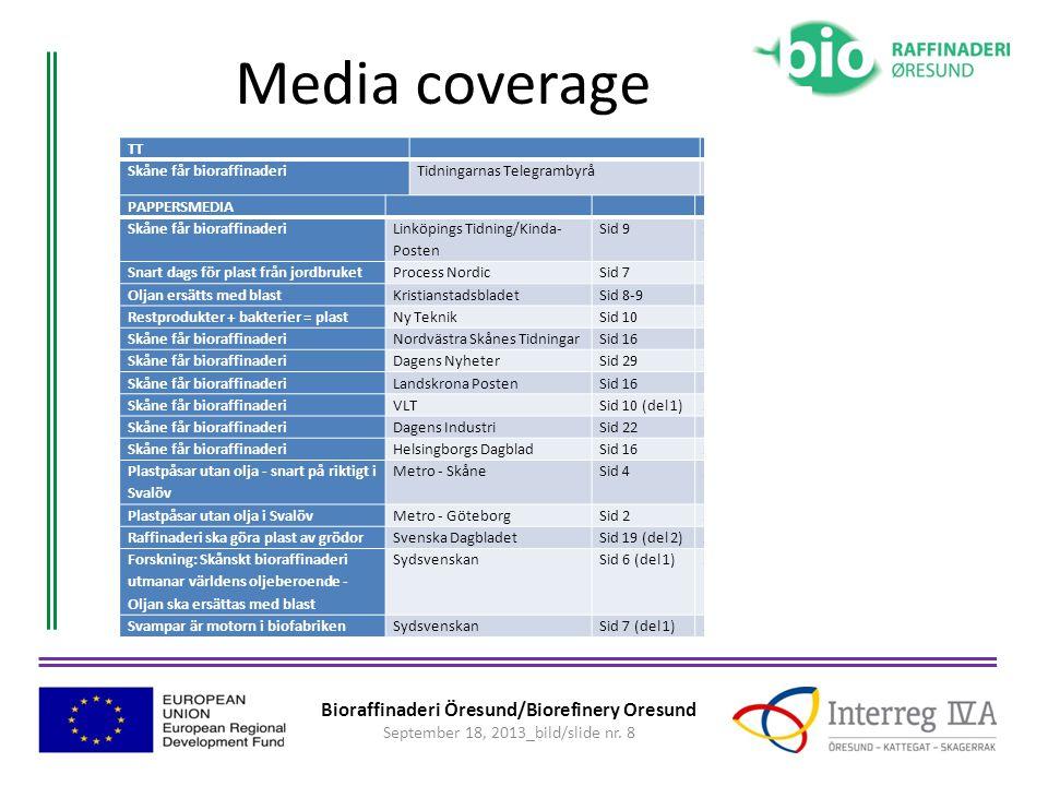 Bioraffinaderi Öresund/Biorefinery Oresund September 18, 2013_bild/slide nr. 8 Media coverage TT Skåne får bioraffinaderiTidningarnas Telegrambyrå22 a