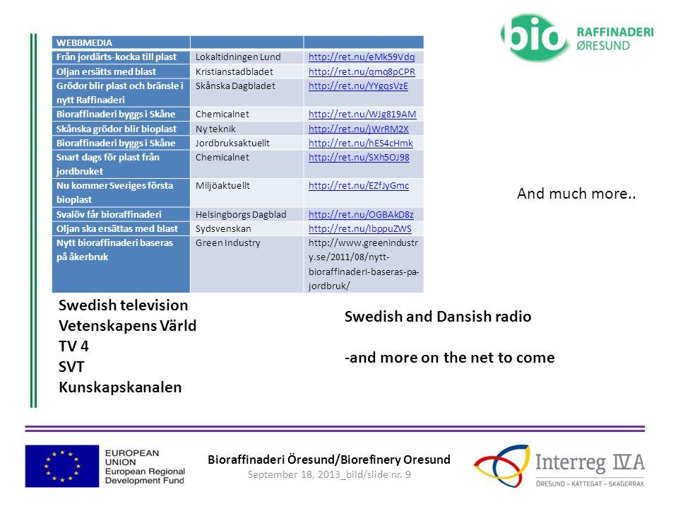 Bioraffinaderi Öresund/Biorefinery Oresund September 18, 2013_bild/slide nr. 9 WEBBMEDIA Från jordärts-kocka till plastLokaltidningen Lundhttp://ret.n