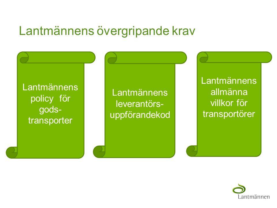 Landscape Lantmännens övergripande krav Lantmännens leverantörs- uppförandekod Lantmännens policy för gods- transporter Lantmännens allmänna villkor f