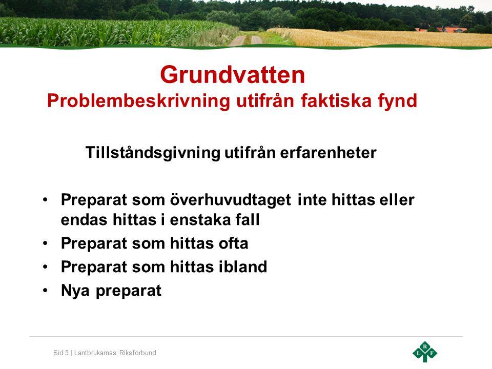 Sid 5 | Lantbrukarnas Riksförbund Grundvatten Problembeskrivning utifrån faktiska fynd Tillståndsgivning utifrån erfarenheter •Preparat som överhuvudt